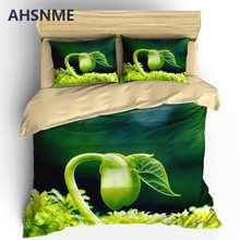 AHSNME Green Plant Duvet Cover Set Spring Scenery Comforter Covering Flowers Bedding Set Customize Design King Queen Size(China)