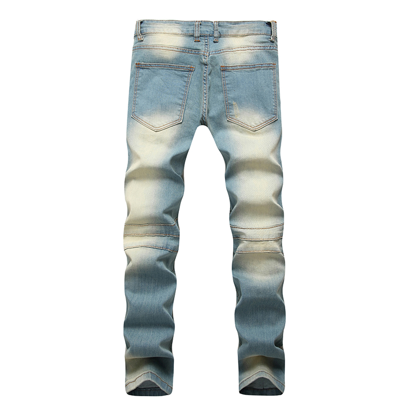 Men's Fashion Brand Designer Ripped Biker Jeans Men Distressed Moto Denim Joggers Washed Pleated Jean Pants Black Blue 6