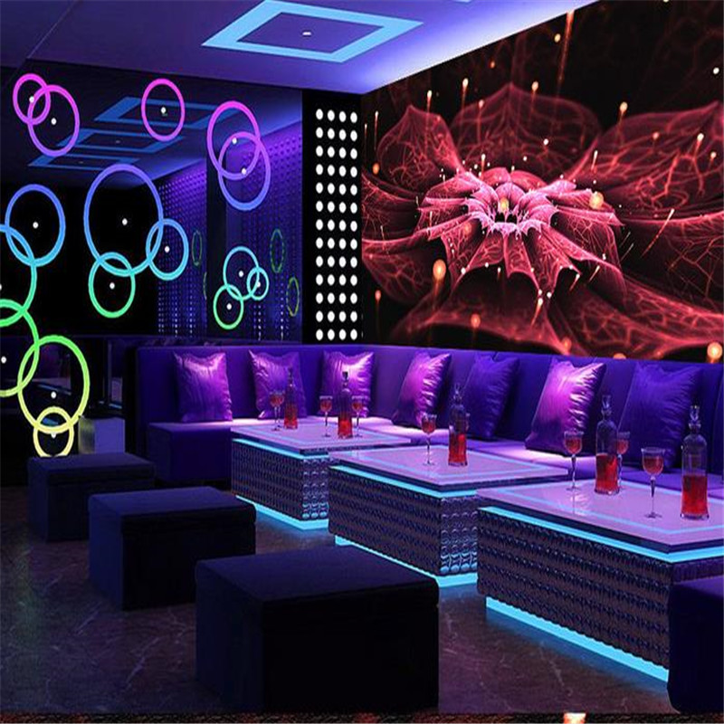 Custom 3D Murals Wallpapers Florals Photo Wallpapers Luminous Flowers Wall Murals Restaurant Clubs KTV Bar Backdrop Painting<br>