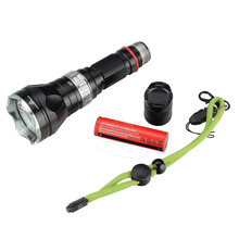 Diving LED Flashlight with 18650 Rechargeable Battery and Charger XML T6 IP68 Waterproof Underwater Flash Lights for Fishing