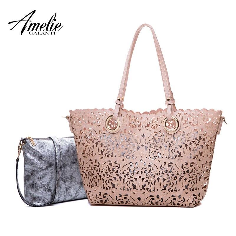 AMELIE GALANTI 2017 fashion women composite bags shoulder handbags hollow out no zipper high quality pu versatile famous design<br>
