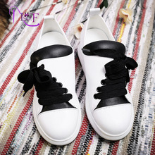 Platform Sneakers Women Black White Mixed Coloe Designer Lace-Up Round Toe Fashion Casual Shoes Woman Genuine Leather 2017 New