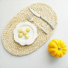 Oval Round Straw Weave Handmade Natural Placemat Place Heat Insulation Tablemat Mat