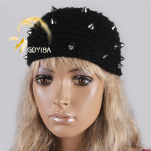 GOYIBA 1 PCS Black Women's Winter Crochet Knitting Punk Rivet Knitted Headband with Button Headwrap Ear Warmer Turban Hair Band