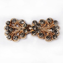 20set Gold Tone Hooks Eyes Waist Extender Clasps Decorated Gray Crystal Rhinestones Button Garment Sewing Supplies NK310