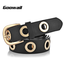 Goowail 2017 fashion Belts for Women Grommet Duo euramerican style designer pu Leather strap for ladies jeans accessories