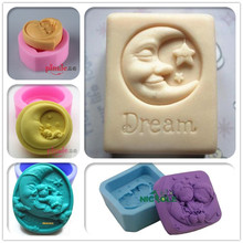 Moon baby and lover pattern silicone soap molds form for soap Clay mold DIY Handmade soap molds(China)
