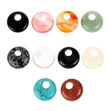 Druzy Fashion Mixed Color Good Quality Safety Button Charms Natural Stone Pendant Fitable Jewelry Making 12pcs\lot .