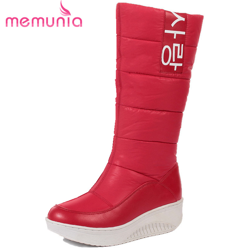 MEMUNIA SIZE 35-44 Ladies snow boots wedges heels slip on women winter boots fur inside mid calf boots sweet shoes<br>