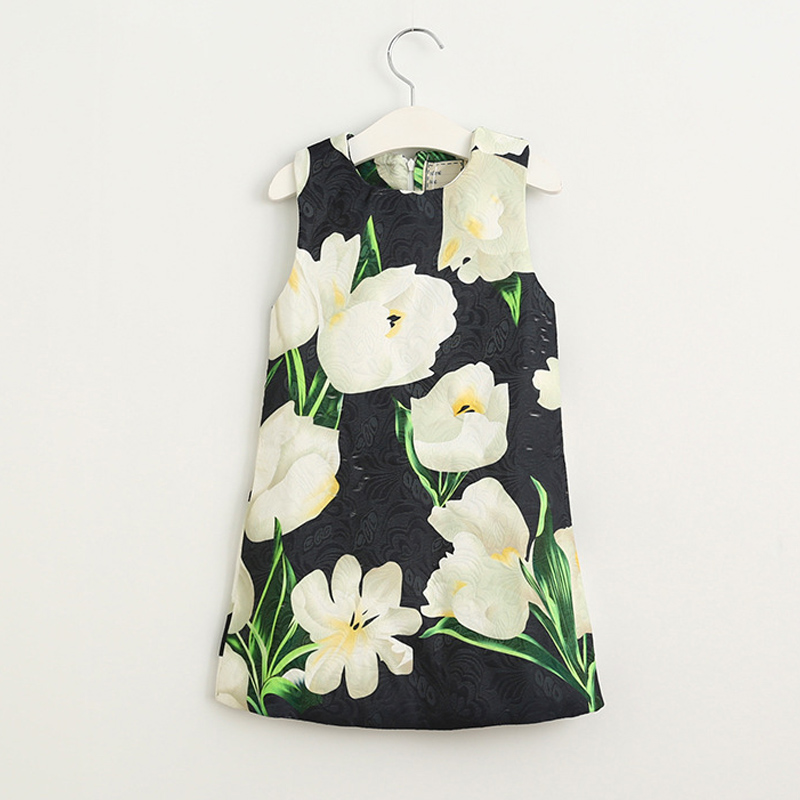 New Year Fashion Design Flower Printing Autumn And Spring Girls New Arrival Sleeveless Dress Baby Girls Outfit Good Quality Item<br><br>Aliexpress