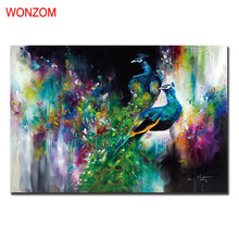 Peacock Pictures Of Abstract Paintings Poster Vintage Wall Christmas Frameless Canvas Pictures For Home Decor Wall Art Quadro