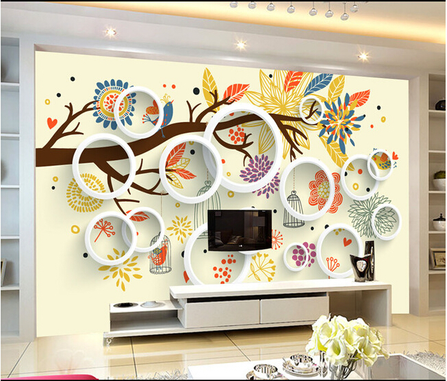 Custom 3D murals, 3D solid painted flowers and birds tree, living room sofa TV wall children bedroom wall paper<br>