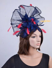 2017 NEW Unique design.Navy blue red Large feather fascinator sinamay fascinator formal hat kentucky derby hat wedding hat.(China)