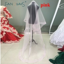 Custom Made Tulle Pink Cathedral Wedding Veil for Bride 2017 Wedding Accessories veu de noiva longo com renda Long Bridal Veils