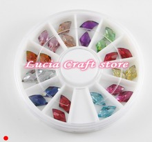 SALE!Random mixed colors diamond Flatback rhinestones Long Rhombus DIY Glitter Nail Art decoration 1 box/lot 083004026