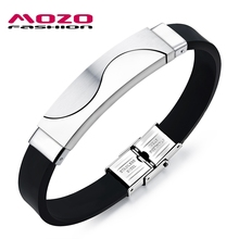 MOZO FASHION Hot Men Bracelet Gold / Silver Stainless Steel Silicone Bracelets Rubber Wristband Trendy Mens Party Jewelry GS1018(China)