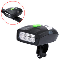 Ultra Bright 3 LED Bike Cycling Front Head Light Lamp + Electronic Bell Horn Combination Bicycle Accessories ALS88