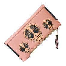 Women's Purse Women's Wristlet Softy Leather Rivets Of Metal SKULL PRINT Wallet Pink(China)