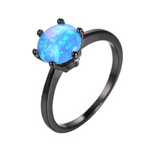 Elegant Round Ball Blue Fire Opal Rings for Women/Men Wedding Vintage Black Gold Filled Opal Ring Simple Fashion Jewelry RB0723