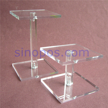 Combined Acrylic Display Stand, clear square pillar pedestal riser rack bracket boutique jewelry dessert cupcake holder screwed