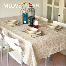 Gray Linen Fabric Coffee Color English Newspaper Linen tablecloth dining table cloth Home Decoration Wedding Decoration