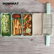 3 Layer Japanese Slim Bento Lunch Boxs Food Container Lunchbox with Carry Lunch Tote Bag Microwave Safe BPA Free Green