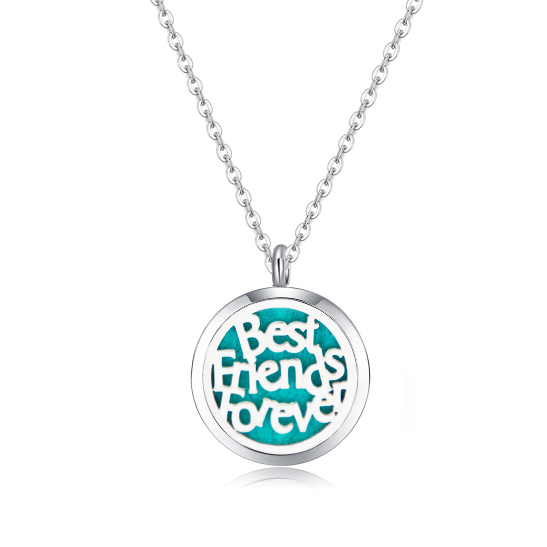 10pcs mesinya Best Friends Forever (30mm) Aromatherapy / Essential Oil surgical Stainless Steel Diffuser Locket Necklace