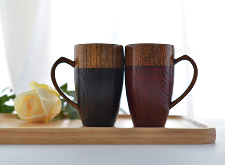 Set of 2 Natural Wood Cups Mugs with Handle Wooden Couples Mugs Coffee TeaMilkJuiceWater Mugs Drinkware Handcraft Wood Gifts (3)