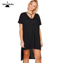 Misskoko 2018 Big Size New Fashion Women Clothing Casual Solid Split Summer Dress  Plus Size Basic Mini Casual Dress 4XL 5XL 6XL ba4543d79b3f