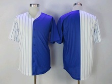 New Designs Cubs Style Blue/White Split Baseball Short Shirt, Accept Custom Any Baseball Team Player Name/Number Jerseys Shirt(China)