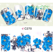 Water Transfer Nails Art Sticker blue peony Nail Wraps Sticker Fingernails Decals manicure stickers