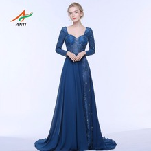 ANTI 2017 Dark Blue Evening Dress Long Sleeves Backless Formal Gowns Crystal Celebrity Dress A-Line Wedding Party Abide Hqy3141