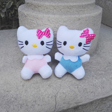 Super Kawaii Special Sale - 8CM 2Colors - Bowtie Hello Kitty Plush Stuffed TOY , Small Pendant Lanyard DOLL , BAG Key Chain TOY