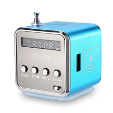 TD-V26 Mini Portable LED Speaker Micro SD/TF Music Player Digital LCD Sound FM Radio Music Stereo Loudspeaker For PC Laptop MP3