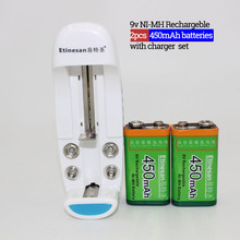 Etinean 2pcs 9v 450mAh Ni-MH Rechargeable 9 Volt NiMH Battery + Universal 9v AA AAA 18650 Cr123a Battery Charger(China)