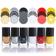 6 Bottles 6ml Born Pretty Stamping Polish Nail Art Varnish Nail Plate Printing Polish