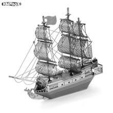 Finger Rock  3D Metal Puzzles Assemble   Pirates Black Pearl Ship Model Toys New Year Gift WJ180