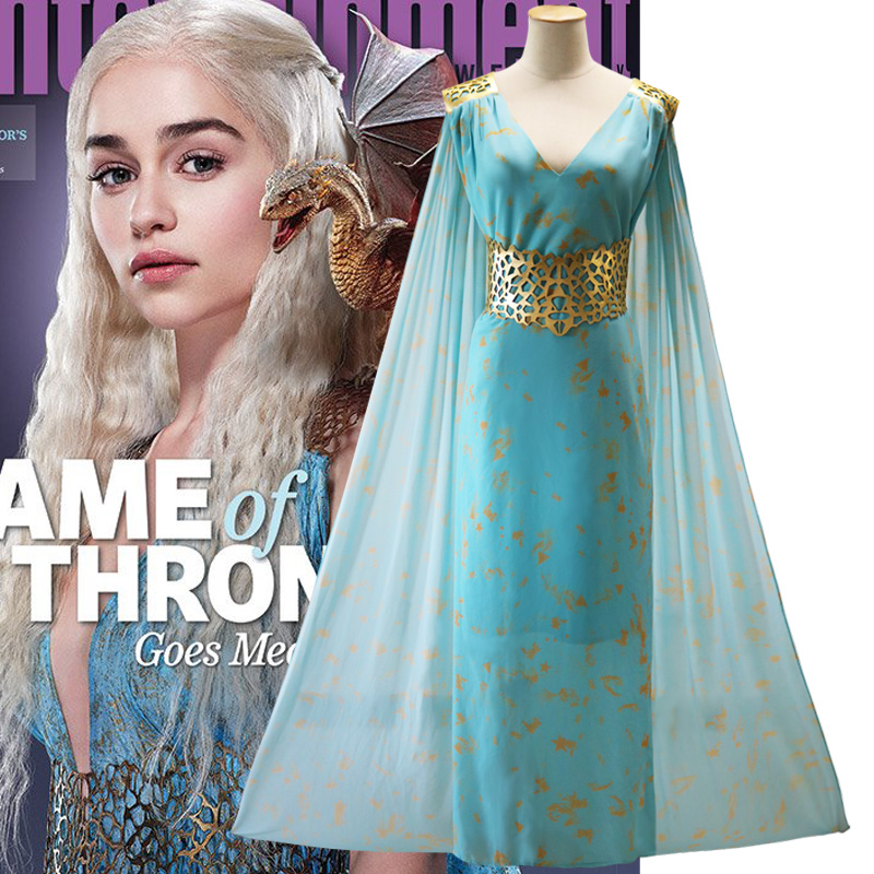 Game of Thrones Daenerys Targaryen Dress Cosplay Costume Halloween Event Evening Party Dresses