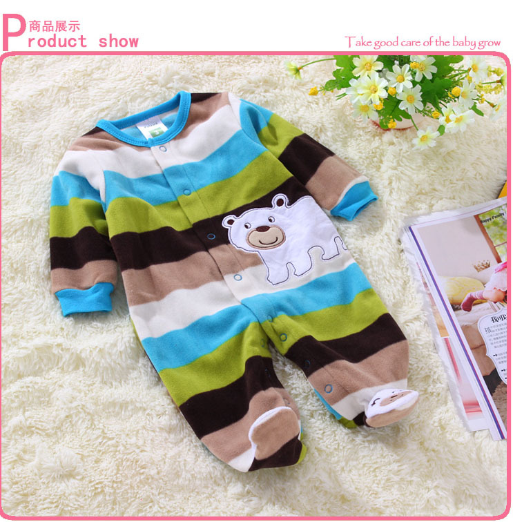 newborn clothes Polar fleece fabric baby boy rompers spring autumn baby rompers blue striped bear pattern infant clothing