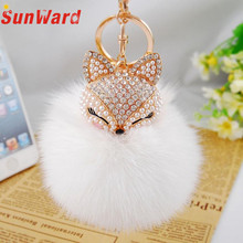 Faux Rabbit Fur Ball Keychain Artificial Fox Inlay Pearl Rhinestone Car Key Chain Handbag Key Ring Delicate(China)