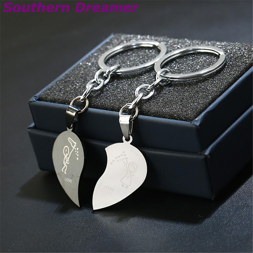 half heart key chain