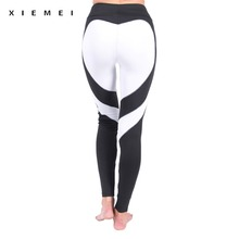 patchwork White heart shape sporting leggings women jogger fitness active pants black sweat pants calzas legency legging femme(China)