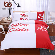 BeddingOutlet Red Bedding Set His Side & Her Side Duvet Cover Set Couple Quilt Cover Cozy Bedclothes for Home 3Pcs Queen King