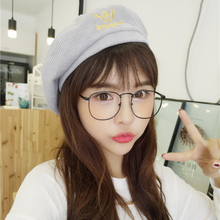 HT836 Korean Fashion Artist Women Beret Hats Embroidery Corduroy Casual Women Hats Stylish Brand Autumn Winter Hats for Female