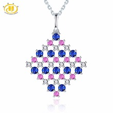 Hutang Diamond-Jewelry Natural Sapphire & Ruby 18K White Gold Pendant & Necklace Fine Stone Jewelry For Women's Gift New Arrival(China)