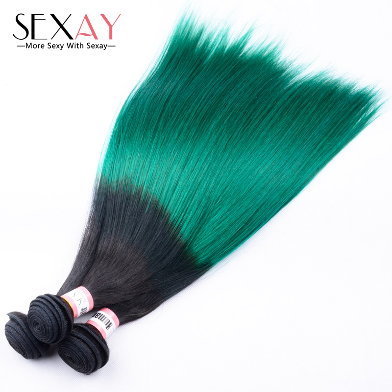 Green Two Tone Human Hair Weave Extensions Straight Teal Green Cambodian Virgin Hair 3 Bundles Ombre 1B and Green Straight Hair<br><br>Aliexpress