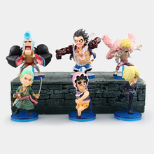 HHIHHA 6pcs One Piece Franky Donquixote Doflamingo Luffy New World Anime WCF FIGHT Figuarts Zero PVC 8CM Boxed Limit Garage Toy