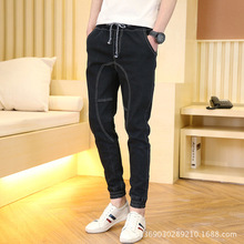 Spring 2017 New Men's Modern Black Harem Jeans Slim hip hop Pencil Pants For Youth Fashion Cross-Pants Plus Size 28-36 MB10101(China)