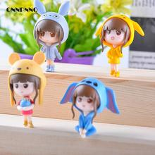 4pcs Kawaii Cartoon Small Q Girl Doll Miniature Fairy Figurines Toy Girl crafts Decorative Landscaping Fairy Garden Miniatures(China)