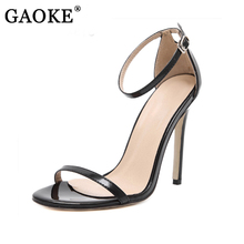 2017 Fashion Women Sandals Sexy Satin Hollow Strip Peep Toe Buckle Trap Strap Thin High Heel Shoes Wedding Shoes Black Red White(China)
